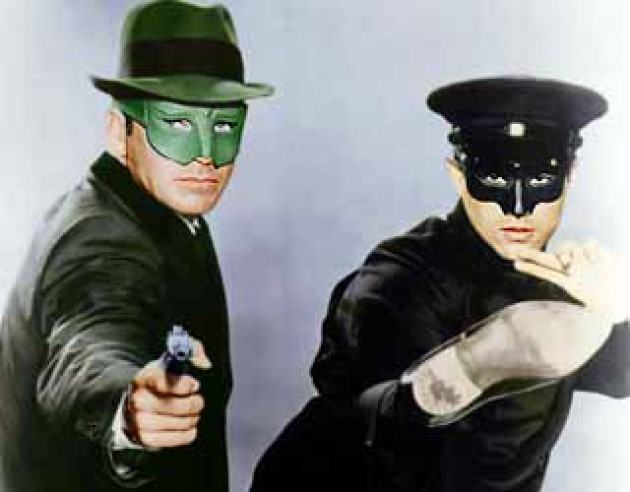 Van Williams and Bruce Lee as Green Hornet and Kato.