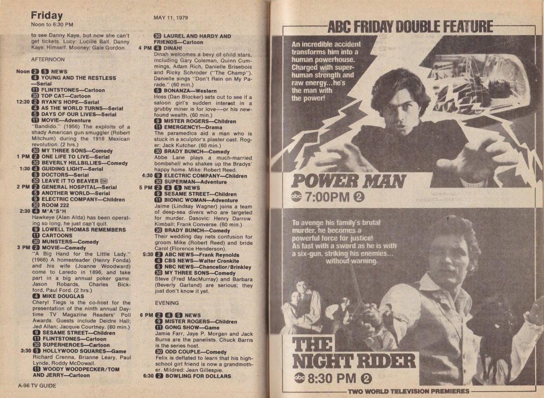TV Guide page showing ad for 'Power Man'