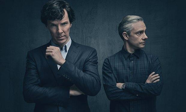 Sherlock Holmes (Benedict Cumberbatch) and John Watson (Martin Freeman) in Sherlock Series 4