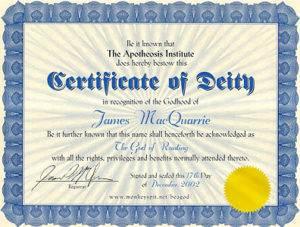 Certificate of Deity