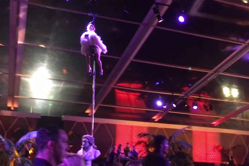 woman on sway pole at party