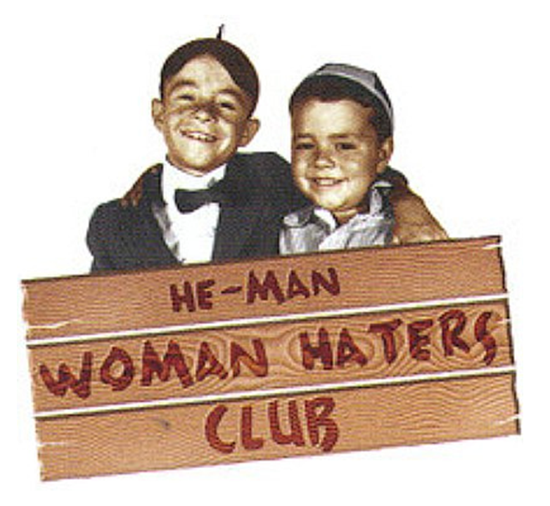 Alfalfa and Spanky from 'Our Gang' with sign, 'He-Man Woman Haters Club'