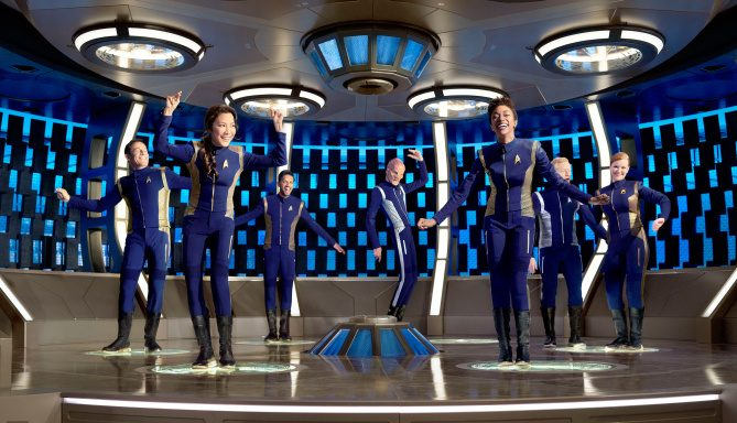 Star Trek Discovery cast transporter room