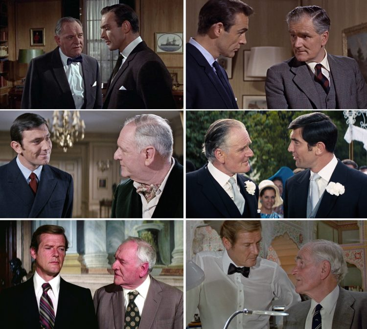 James Bond 007 M Q Connery Lazenby Moore Bernard Lee Desmond Llewelyn