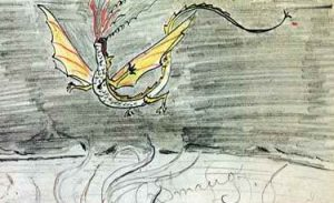 Smaug as drawn by J.R.R. Tolkien; but what would he know about it?