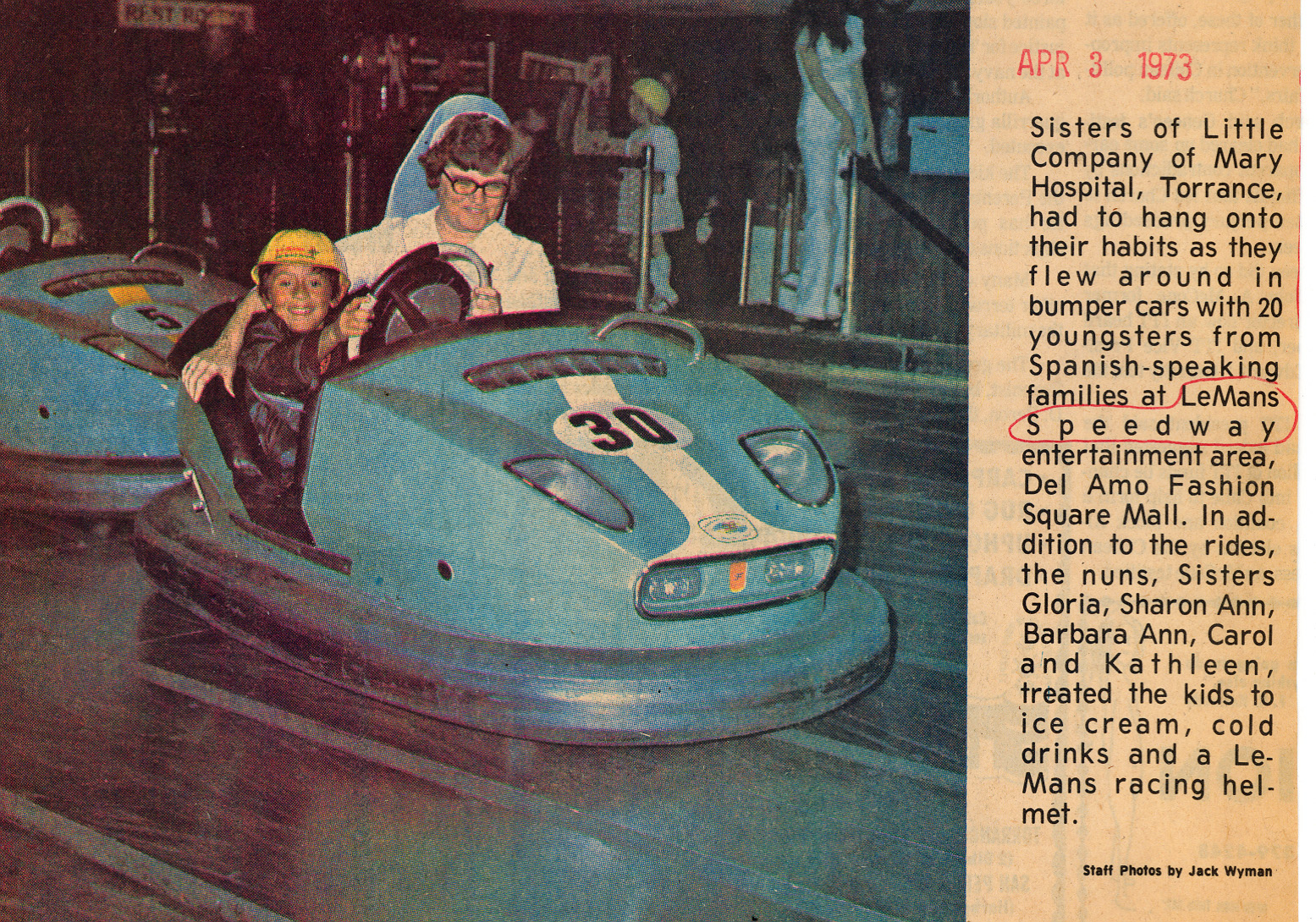 Press clipping about LeMans bumper cars, Del Amo Fashion Square, Torrance CA, 1973