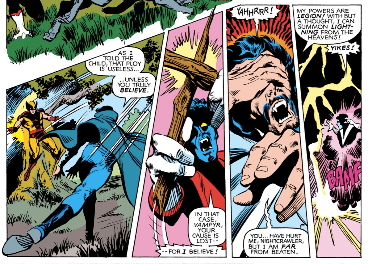 Nightcrawler fights Dracula.