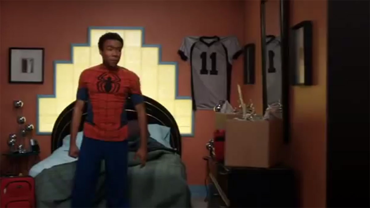 Donald Glover in Spider-jammies
