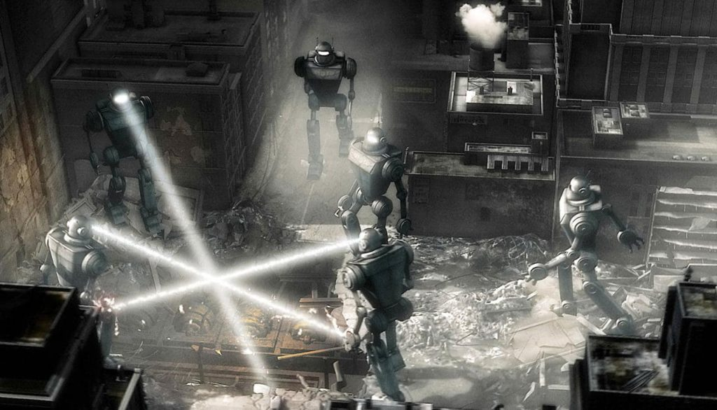robots attack New York in 'Sky Captain and the World of Tomorrow'.