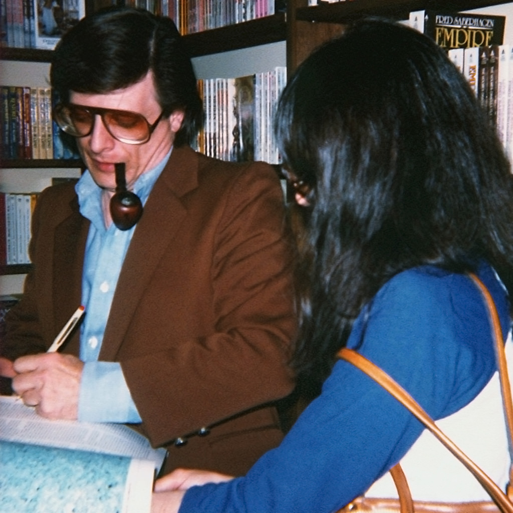 Harlan Ellison signing an autograph at Dangerous Visions, 1982.