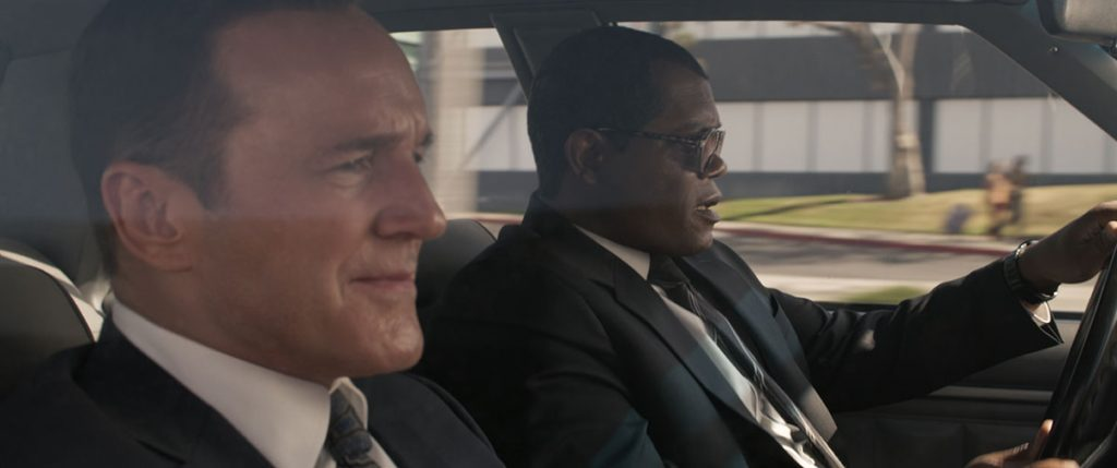 Clark Gregg and Samuel L. Jackson as Phil Coulson and Nick Fury.
